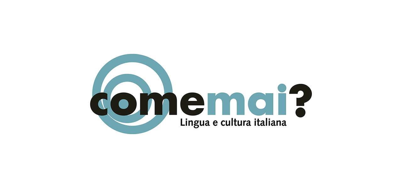 Logotipo Come Mai academia de italiano